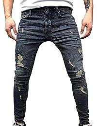 0c8e9ccd374 URIBAKY Jeans Skinny Stretch en Denim pour Hommes - Jean déchiré déchiré