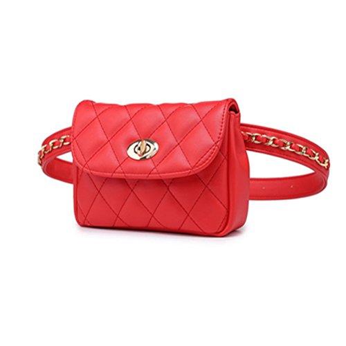 TTD Mode kleine süße Taille Fanny Pack Tasche Handytasche für Frauen & Mädchen-Schwarz Rot