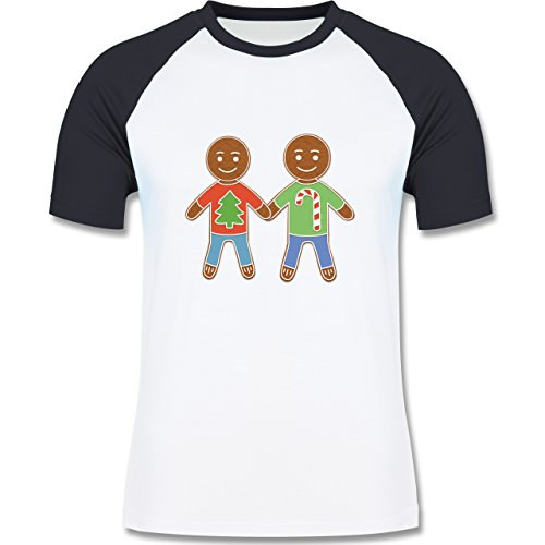 Weihnachten & Silvester - Lebkuchenmann und -mann - zweifarbiges Baseballshirt für Männer Weiß/Navy Blau