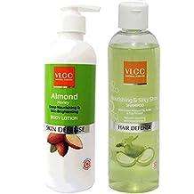VLCC COMBO PACK OF ALMOND BODY LOTION (350ML) & NOURISHING SILKY SHINE SHAMPOO (350ML)