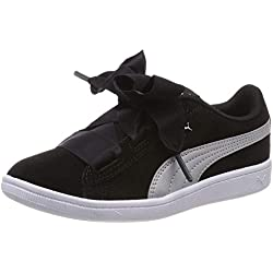 Puma Vikky Ribbon AC PS, Baskets Basses Fille, Noir Black Silver, 35 EU