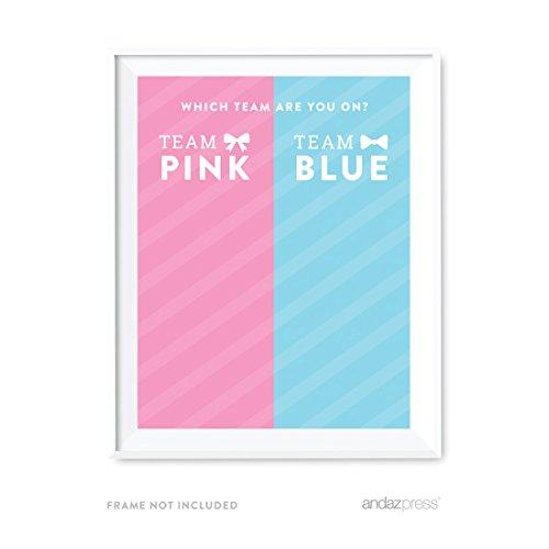 Andaz Drücken Team Pink Team blau Geschlecht Reveal Baby Dusche Collection Sign Which Team Are You On