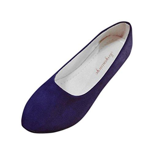 Preisvergleich Produktbild Damen Sandalen Ronamick Rauen Damen Slip auf Flache Schuhe Sandalen Casual Ballerina Schuhe Größe Pantoletten Sandaletten Riemchensandalen (37,  Dunkel Blau)