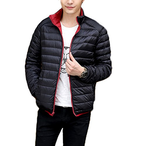 Zhuhaitf GUTE QUALITÄT Mens Winter Down Jacket Warm Outwear Jacket Double-sided Wear Ultra Lightweight Dark red & Black