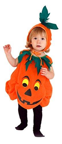 Cloud Kids Kinder Kürbis Kostüm Halloween Kürbis Cosplay Halloweenkostüm mit Kopfschmuck für 3-6 Jahre Größe S