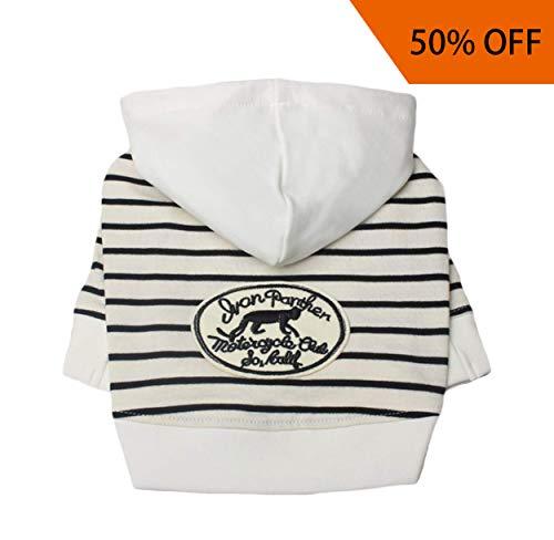Neodot Zebra Streifen Hund Hoodies Sweatshirts Baumwolle Made Haustier Kleidung für Hunde, L(8.8-12.1lbs), Schwarz -