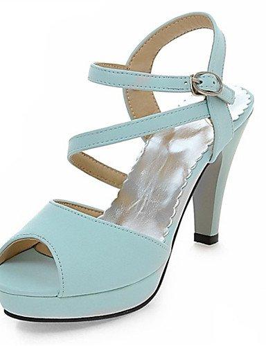 LFNLYX Scarpe Donna-Sandali-Matrimonio / Formale / Casual / Serata e festa-Tacchi-A stiletto-Vernice-Nero / Blu / Rosa / Bianco Blue