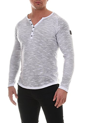COEN BALE Herren T-Shirt Feinstrick Pullover Pulli Langarm Regular Fit Rundhals mit Knopfleiste aus hochwertiger Baumwollmischung Meliert Gym Fitness Trainingsshirt Training Grau Medium