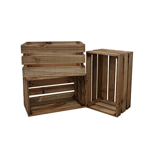 Decowood - Pack de 3 cajas de madera, Marrón, 49 X 30.5 X 25.5 cm