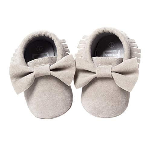 Fossen Zapatos de Bebe Niñas Recién nacido Primeros pasos con Bowknot y borlas Zapatillas 0-6 meses...