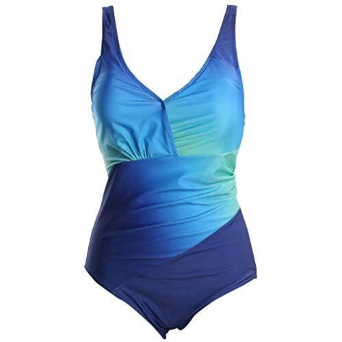 Floweworld Damen Monokini Badeanzug Schwimmanzug Swimsuit Schlankheits Push up Rückenfrei Beachwear Einteiler Bademode Damen Sling Badeanzug Bikini Rainbow Gradient Fat Fat XL Einteiliger Badeanzug