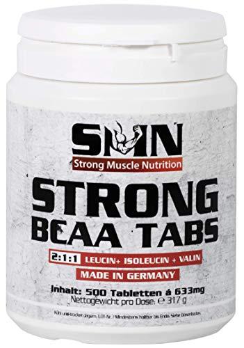 Strong Muscle Nutrition 500 BCAA Aminosäure Tabs (L-Leucin, L-Isoleucin, L-Valin) Tabletten made in Germany 317g Dose
