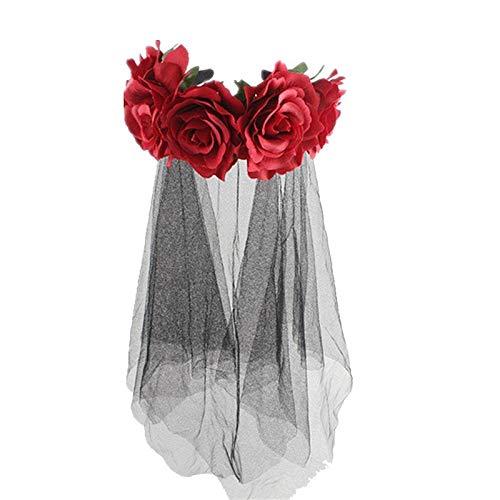 Kfang-headbands, Rose Blume Krone Kopf Band Hochzeit Festival Stirnband Für Mädchen Und Frauen Haar Garland Hochzeit Kopfschmuck Für Foto Requisiten Hochzeit Halloween Weihnachten (Color : Red)