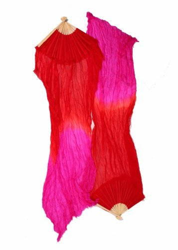 Miss Belly Dance Belly Dancer Fan Veil (One Size, Red/Fuschia)