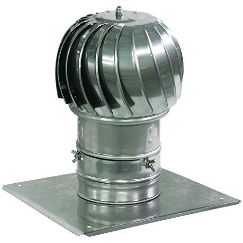 Spinnschornsteinhaube Aluminium Rauchlüftung mit zusätzlichen Dachplatte 130mm