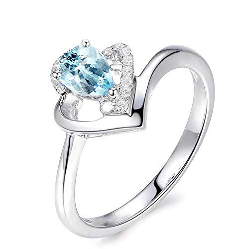 Amdxd gioielli 925 sterline argento fede nuziale ragazza blu pera tagliata topazio lacrima anelli taglia 20