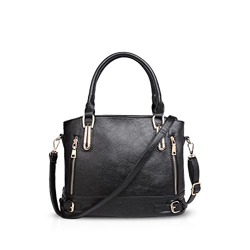 NICOLE&DORIS Elegant Stilvoll Tote Damen Handtaschen Umhängetasche Crossbody Bag Henkeltaschen Schultertaschen Groß Tasche PU Weiß Schwarz