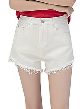 Donna Jeans Pantaloncini Moda Denim Corto Pantaloni con Frange Hot Pants Shorts a Vita Alta Parigamba