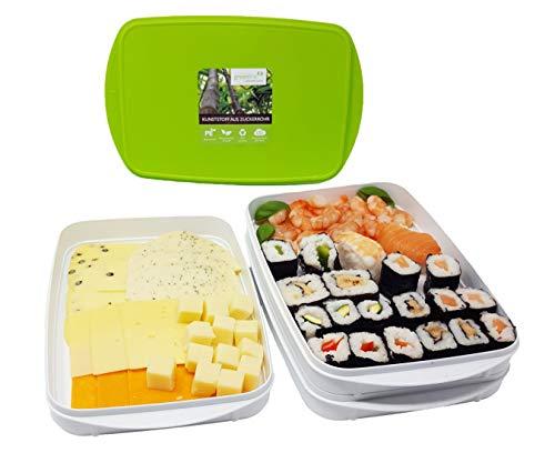 Greenline Frischhalte-Stapelbox Aufschnitt-Box Natürlicher Bio-Kunststoff aus Zuckerrohr insgesamt 4 Schalen 0,9 l und 2 Deckel beliebig kombinierbar