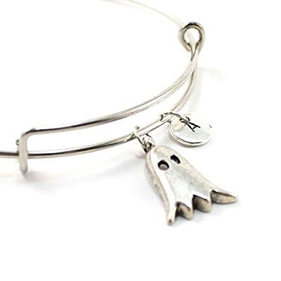 Bracelet jonc GHOST personnalisé | Bracelet Halloween | Bijou à initiale | Bijou pierre de naissance | Cadeau personnalisé