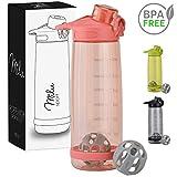 Milu Trinkflasche Eiweißshaker Sportflasche Wasserflasche - 800ml 2in1 Funktion - Auslaufsicher | Protein Shaker | Kindertrinkflasche (Pink)