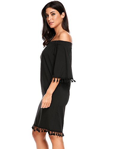 cooshional Femmes Robe Casual Slash Neck Epaule Nu Manche Flare Solid Frange Robe Lâche Sexy Noir