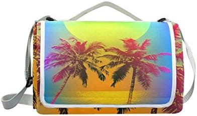 Jeansame Ocean Sea Beach Sun Sun Sun Palm Trees Leaves Picnic Mat Coperta da Picnic, da Campeggio per Outdoor Viaggio Yoga Escursionismo Impermeabile Portatile Pieghevole 150 x 145 cm | Forte calore e resistenza al calore  | Altamente elogiato e apprezzato dal p 30f36e