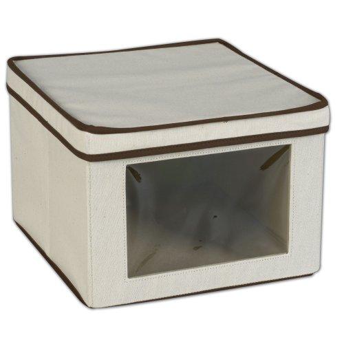 Haushalt Essentials 512 Vision Aufbewahrungsbox - Natürliche Leinwand mit Brown Trim - Medium -