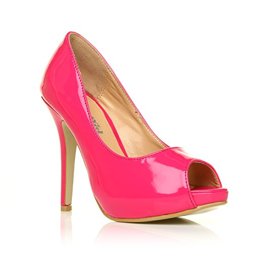 TIA Fuchsia Patent PU Leather Stiletto Very High Heel Platform Peep Toe Shoes