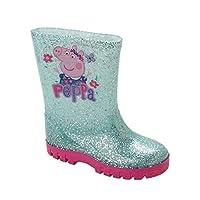 Girls Peppa Pig Glitter Wellies Wellington RAIN Snow Boots Wellys UK Size 5-10 Aqua