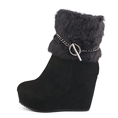 Shenduo Bottes femme cuir(daim) Talon compensé - Bottines Mode fourrées - Boots d'hiver doublure chaude D8252 Noir