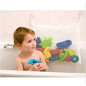 "Gaobei Kids Baby Time Bath Toy Bag Tidy Storage Suction Cup Bag Mesh Bathroom Organiser Net L 17.71""X13.38"""