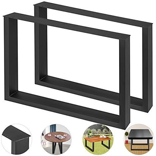 HuSuper 640mm X 400mm Stahl 2er Set Esstisch Beine Tischfüße Tischständer Computertisch Füße Stahl Bank Füße Tischfüße Landhausstil DIY Möbel (640 * 400MM Schwarz) -