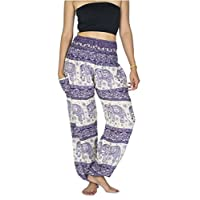 Lanna Thai Harem Trousers/Harem Pants - Yoga, Festival & Boho Hippy/Aladdin Style with Peacock Feather, Elephant & Stripe Designs (Purple & Cream/White Elephants)