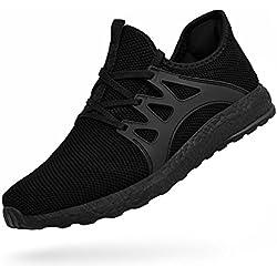 ZOCAVIA Damen Sportschuhe Laufschuhe Sneaker Atmungsaktiv Leichte Wanderschuhe Schwarz 37