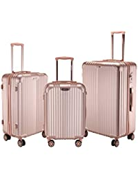 a2ecd0d4c2 ROMEING Siena Hardside Spinner Luggage 3 Piece Set Trolley Bags (Silver