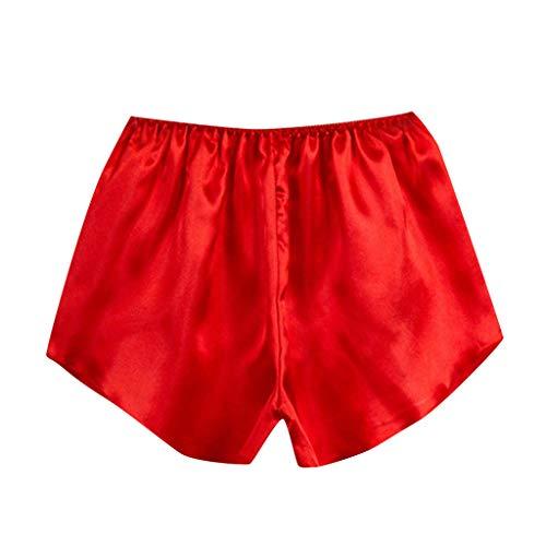 Negligee Sexy, QHJ Nachthemd Damen Sexy Damenmode Satin Nachtwäsche Dessous Schlafanzughose Frauen Boxershorts (Rot,One Size)