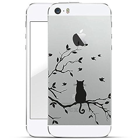 finoo | iPhone SE Hard Case Handy-Hülle mit Motiv | dünne stoßfeste Schutz-Cover Tasche in Premium Qualität | Premium Case für Dein Smartphone| Katze auf (Leichtem Polycarbonat-rahmen)