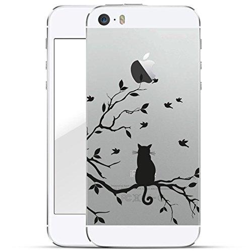 finoo   iPhone 5 und 5S Hard Case Handy-Hülle mit Motiv   dünne stoßfeste Schutz-Cover Tasche in Premium Qualität   Premium Case für Dein Smartphone  Katze auf Ast
