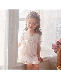 e451f5a93d Conjunto De Pijamas Camisones Ropa De Dormir Ropa De Noche Camisón Niños  Niña Verano Moda Malla Encaje Escote En V Blanco Princesa…