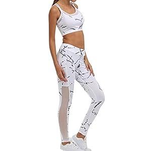 Juleya Sportanzug Damen Trainingsanzug Sportswear Drucken Fitness Anzüge Jogginganzug Sport BH + Leggings Laufen Yoga Set Outdoor Gym Workout Outfit S – L
