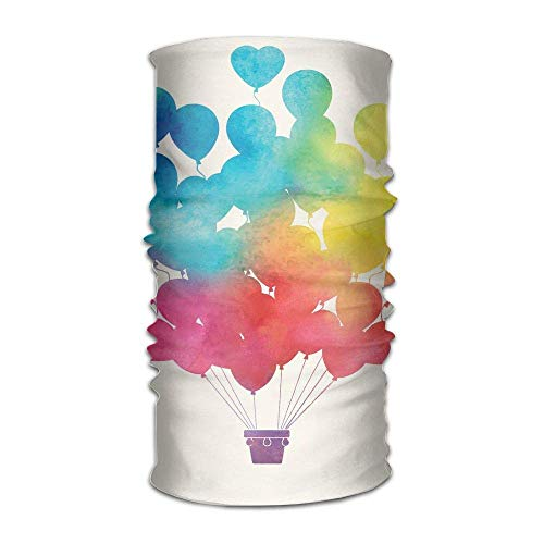 RAINNY Womans Man's Turban Hot Air Balloon Rainbow Colors Cute Heart Shapes Cheerful Happy Custom Kerchief Diamond Mens Tie
