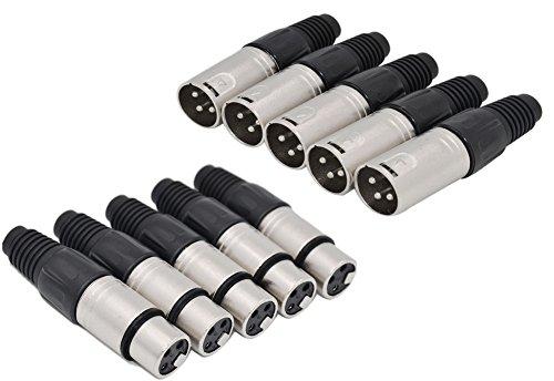 jltph 3Pin XLR Solder Stecker 5Stecker plus 5Buchse Stecker Mikrofon Audio Kabel 5 Stück (Batterie Betreuer)