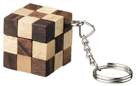 Snake Cube Key Ring Wooden Puzzle Brainteaser by Winshare Puzzles and Games (Ring Snake Puzzle)