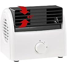 Sichler Haushaltsgeräte Kompakte Tischventilator: Leiser Mini-Tischventilator, Walzen-Technologie, 2 Stufen, bis 35 Watt (Mini-Büroventilator)