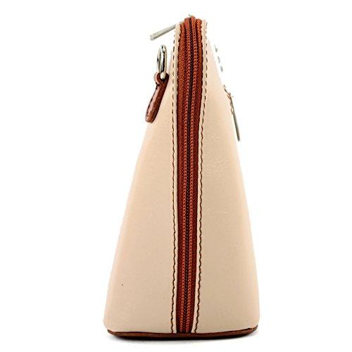 modamoda de -. borsa in pelle ital piccole signore borsa tracolla bag Città bovina T94 Hellbeige/Camel