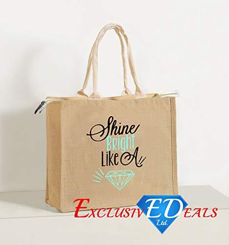 Jute Einkaufstasche Sackleinen Large Eco Wiederverwendbare Geschenk Tote Lunch Handtasche–34cm (H) X 41cm (W) (Shine Bright Like A Diamond)