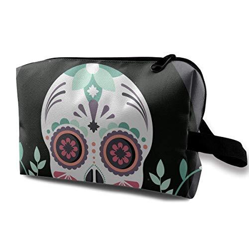 Skull-Mask-Flower Small Travel Toiletry Bag Super Light Toiletry Organizer for Overnight Trip Bag