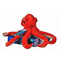 Posh Paws 12457 BBC Blue Planet II Octopus Soft Toy with Display stand-25 cm, Orange