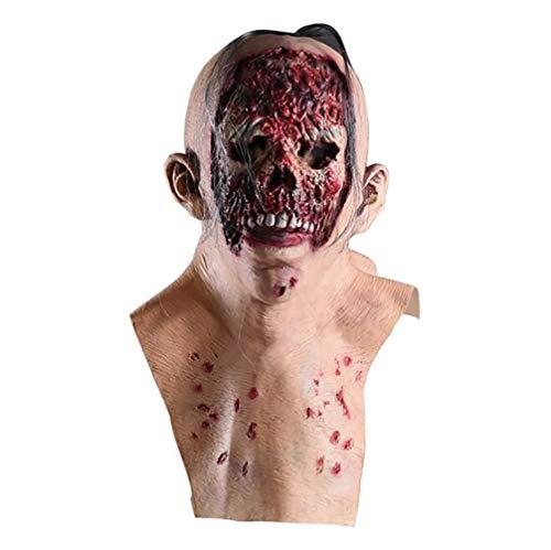Asolym 3D Halloween Effekt Gesichtsmaske, Dracula Latex Kopf und Hals Horror Maske, Bloody Zombie Skull, Walking Dead, Monster